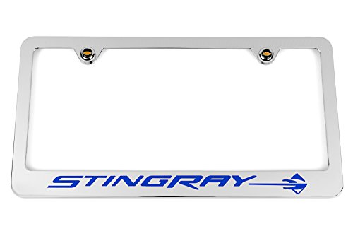 High-End Motorsports Chevrolet C7 Corvette Stingray Chrome License Plate Frame - Blue Logo - USA Made