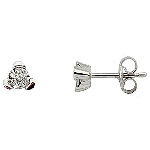 Boucled'oreille 0,12ct diamant brillant 18k or blanc rosette 7 [5945]