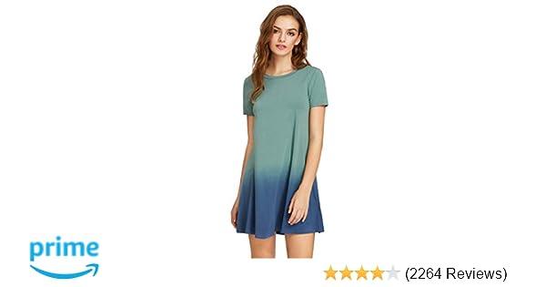 d458c0decde Romwe Women s Tunic Swing T-Shirt Dress Short Sleeve Tie Dye Ombre Dress at  Amazon Women s Clothing store