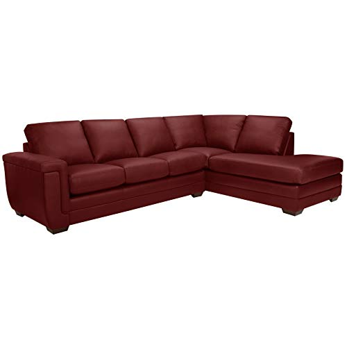 Sofaweb.com Porsche Top Grain Italian Leather Sectional Sofa Maroon Red