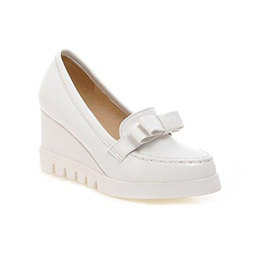 Sandalette-DEDE Damas Zapatos, Zapatos de Mujer con Cabeza Redonda Solo Zapatos, Zapatos de Mujer, College Wind Arcos y Tacones Altos. white