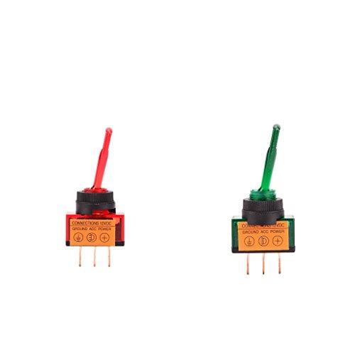 トグルスイッチ オン/オフ LEDインジケータランプ 3ピン端子 4種選べる 耐久性 保護 防水 2個入 使いやすい - 赤と緑