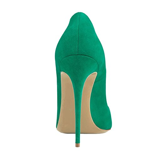 VOCOSI Women's High Heels,Pointed Toe Patent Pumps Shoes for Ladies Party Dress 4.7 inches Green(suede)