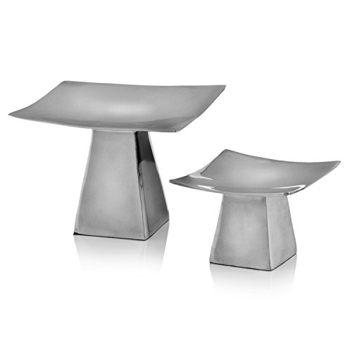 """Anden Pedestal Candle Holders, Silver Candlestick Holders, Aluminum, Modern, Home, Living Room, Dining Room, Kitchen, Table Décor, Accessories, Set of 2, Small: 4""""L x 4""""W x 3""""H, Large: 6""""L x 6""""W x 4""""H"""