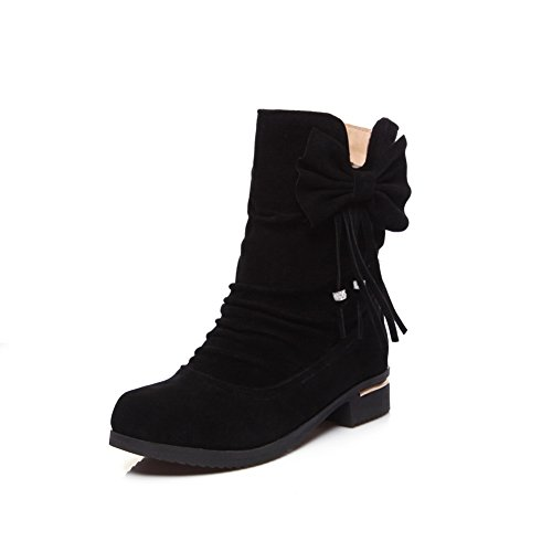 BalaMasa Womens Casual Slip-Resistant Solid Suede Boots ABL10451 Black Yg7C7K