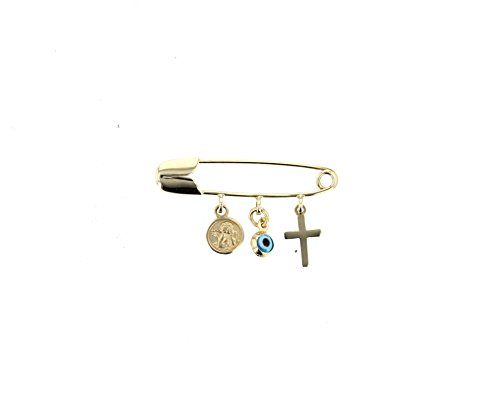 Evil Eye, 14kt Gold Evil Eye,Cross,Angel Charms with Gold Safety Pin to Hook by DiamondJewelryNY