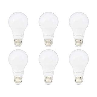 AmazonBasics 60W Equivalent, Soft White, Non-Dimmable, 10,000 Hour Lifetime, A19 LED Light Bulb | 6-Pack