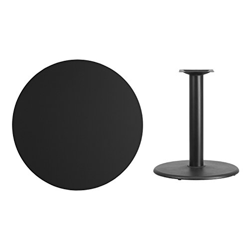 (Flash Furniture 36'' Round Black Laminate Table Top with 24'' Round Table Height Base)