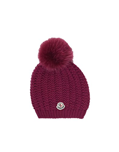 Moncler Berretto Youth Modello Purple Wool/Cashmere Fur Pom Pom Beanie Small by Moncler