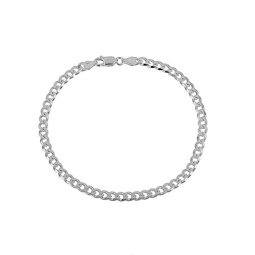 4.5mm 925 Sterling Silver Cuban Curb Link Italian Chain 9 inch