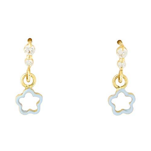 14k Yellow Gold Cubic Zirconia Blue Enamel Open Flower Safety Screwback Dangle Earrings ()