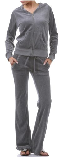 (ToBeInStyle Women's Regular Drawstring Pants w/Hoodie Sweatshirt Velour Set - Large/Size: 6-8 - Gray)