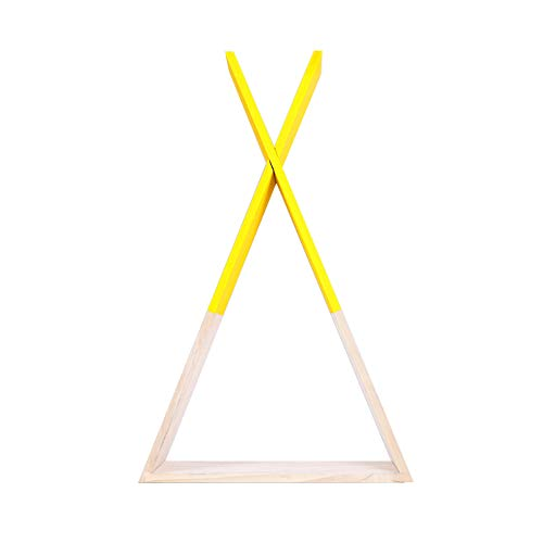 (Xinyi Triangular Wooden Wall Shelf, Nordic Style Wooden Flower Holder Wall Hanging Shelf Storage Rack Room Decor Size 3923cm (Yellow))