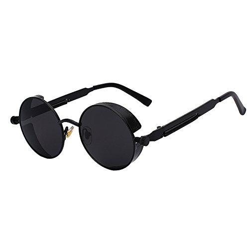 Blue Stones Mirror Lens Round Glasses Goggles Steampunk Sunglasses Vintage Retro For men and women Hisper ()