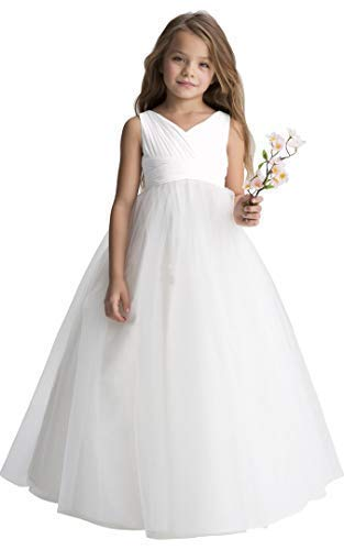 (GirlsTreasure Ivory Tulle Flower Girl Dress, Chiffon Wedding Party Pageant Dresses for Girls, Long Junior Bridesmaid Dress A-Line)