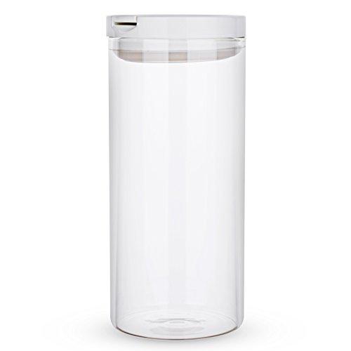 Karafu 42 Ounces Borosilicate Glass Airtight Food Storage Container, Airtight Storage Jar for Dry Food, Sugar, Tea, Coffee, Cookies, Snacks, Liquid or More (White) (Airtight Coffee Storage)