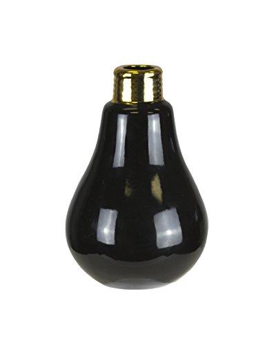 Farm Lite Source (Sagebrook Home 10541 Decorative Ceramic Light Bulb, Black Ceramic, 4 x 4 x 6 Inches)