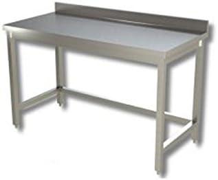 Mesa de acero inoxidable sin estante de fondo con alzatina Dim. cm 130 x 60 x 85h: Amazon.es: Hogar