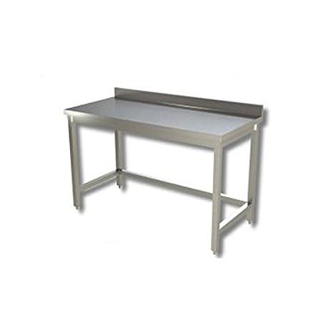 Mesa de acero inoxidable sin estante de fondo con alzatina ...