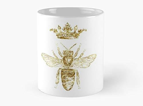 Roi royal ou reine des abeilles Design dessiné à la main Vintage Look Artwork Gold Mug, Standard Mug Standard Mug Mug coffee Mug - Design Rein