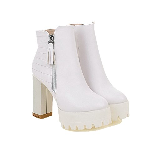 AgooLar Women's Low-top Zipper Soft Material High-Heels Round Closed Toe Boots White Hc9LX1xC