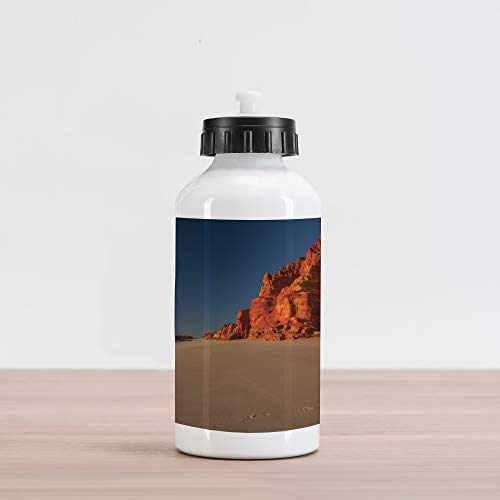 Lunarable Wilderness Aluminum Water Bottle, Western Australia Coastline with Rocks at Dampier Peninsula, Aluminum Insulated Spill-Proof Travel Sports Water Bottle, Burnt Orange Taupe Dark Blue (Australia Western Patios)