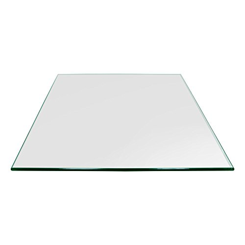 "TroySys Square Glass Table Top Custom Annealed Clear Tempered - 3/8"" Thick Glass With Pencil Polished Edge & Radius Corner For Dining Table, Coffee Table, Home & Office Use - 30"" L Inch"