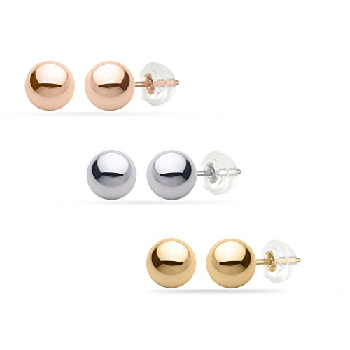 PARIKHS White Gold Ball Earrings High Polished 6MM 14k with Silicone Protected Gold Pushbacks - White Gold Polished Earring