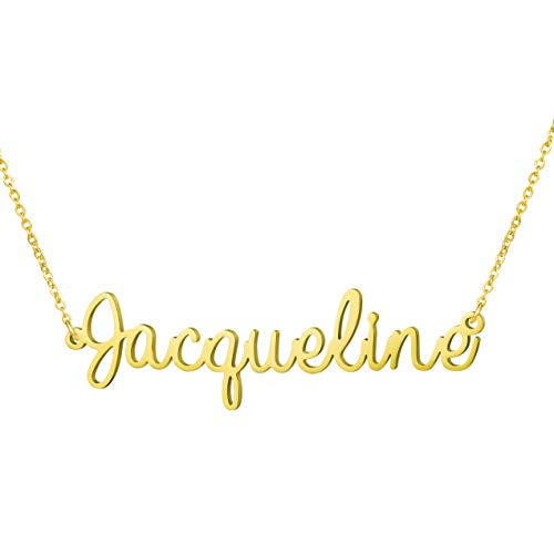 (Awegift Personalized Name Necklace 18K Gold Plated New Mom Bridesmaid Gift Jewelry for Jacqueline)