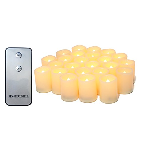 "Candle Choice 24-Pack Realistic Flameless Votive Candles Bright Battery Operated LED Votives with Remote 1.5""x2"" Melted Edge Long Lasting Party Wedding Birthday Holiday Home Décor Centerpiece Gift by CANDLE CHOICE"