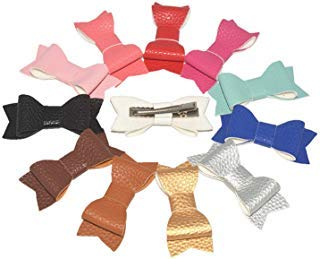 Waldd 12 Pcs 2.8 Inch Leather Bows Hair Clips Baby Leather Hair Bows Clips Mix...