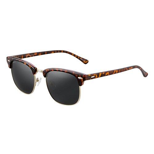 JULI Polarized Sunglasses Mens Womens 3016 Vintage Clubmaster Tortoise Frame Black Lens Semi-rimless - Tortoise Black Clubmaster Or