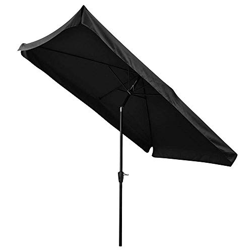 AMPERSAND SHOPS Outdoor Patio Tilt Umbrella Rectangular with Valance and Crank Handle 10' x 6.5' Waterproof (Black) by AMPERSAND SHOPS