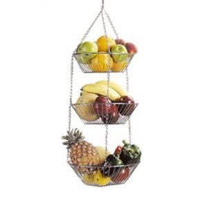 Chrome Plated 3 Tier Hanging Vegetable Fruit Rack Storage Hanging Baskets