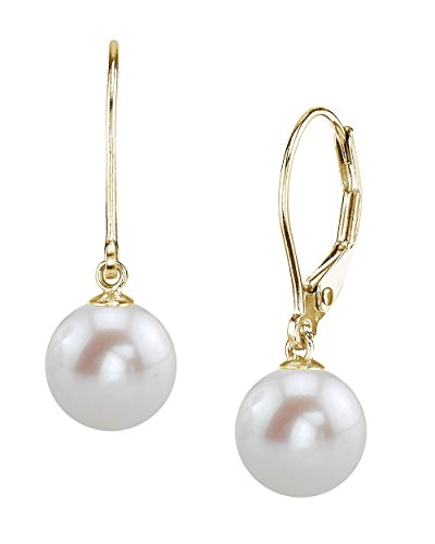 THE PEARL SOURCE 14K Gold 8-9mm AAAA Quality High Luster Round White Freshwater Cultured Pearl Leverback Earrings for Women 14k Yg Dangle
