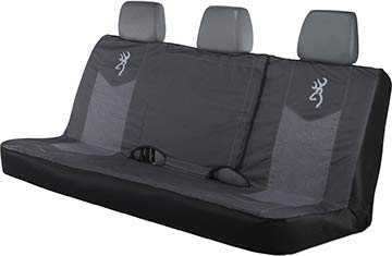 Browning Bench Seat Cover, Heather Black Bench-Seat Cover for Full Size Trucks and SUVs with fold-Down Center Console Access, Water Resistant 600D Polyester