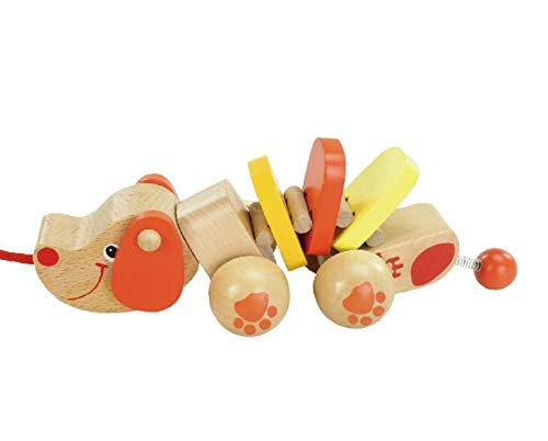 Kinue Brand New and Wooden Puppy Pull-Along Toys Toddlers Baby Animals Early...