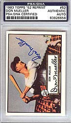 Don Mueller Signed 1952 Topps Reprint Trading Card #52 New York Giants - PSA/DNA Authentication - Autographed MLB Baseball Cards from Sports Collectibles Online