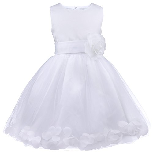 iiniim Girls Petals Tulle Princess Wedding Pageant Party Flower Girl Dress White 6 (Christmas Pageant Dresses)