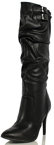 Breckelle Womens Brandi Faux Leather Slouchy Knee High Dress Boot, Black, 8 M US (8.5 M)