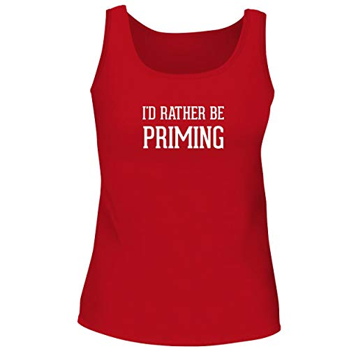BH Cool Designs I'd Rather Be Priming - Cute Women's Graphic Tank Top, Red, - Prime Cost Instant Video