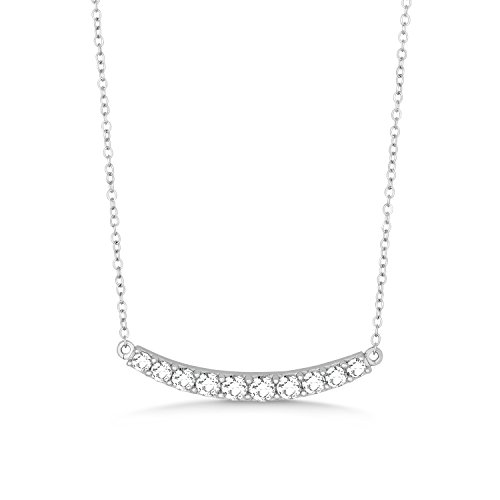 Beaux Bijoux Sterling Silver 16 2 Extension CZ Curved Bar Necklace