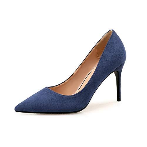 Yukun zapatos de tacón alto Zapatos De Mujer Zapatos De Mujer De Otoño Zapatos De Moda De Tacón De Aguja De Color Sólido 9Cm Mujeres Blue