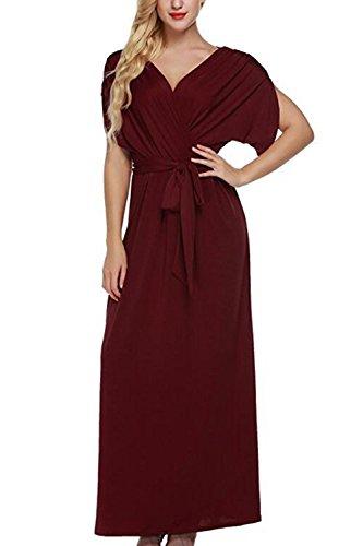 Profundo escote en v Surplice acanalada vestido Maxi vestidos bohemios de las mujeres Winered