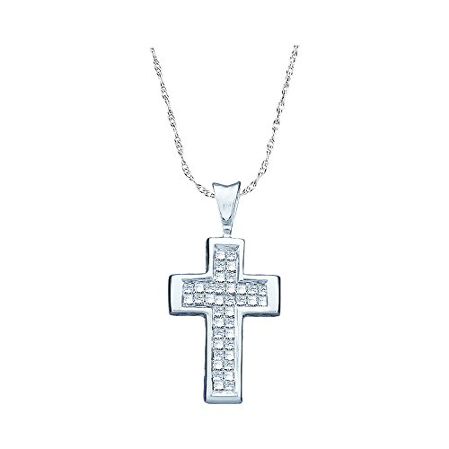 Sonia Jewels 14k White Gold Princess Cut Invisible Channel Set Diamond Cross Pendant (1/4 cttw) (Princess Invisible Pendant Set Diamond)