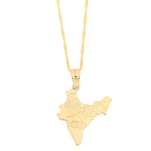 - India Map Pendant Necklaces Chain Indian for Women Girl Gold Plated Hindu Jewelry