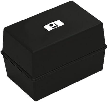 Q-Connect - Caja para tarjetas de visita con índice (12,7 x 7,6 cm), color negro: Amazon.es: Oficina y papelería