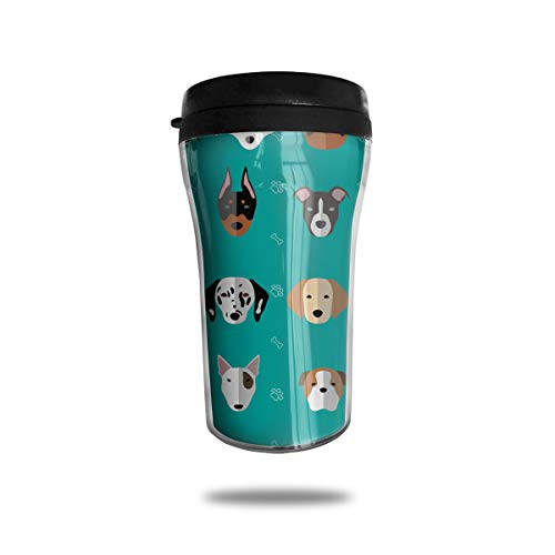 FTRGRAFE Husky Pug Bulldogs Paw Bone Travel Coffee Mug 3D Printed Portable Vacuum Cup,Insulated Tea Cup Water Bottle Tumblers for Drinking with Lid 8.54 Oz (250 Ml)