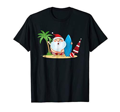 Santa Claus Surfing Hawaiian TShirt Summer 4th of July Gifts ()