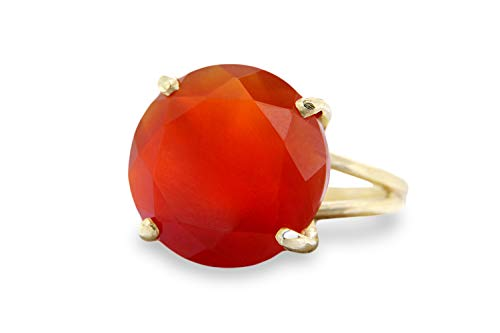 Anemone Jewelry 4-Prong 14CT Cocktail Carnelian Ring - Beautiful Vintage Gold Ring For Making Statements - Attractive Ring Jewelry [Handmade]